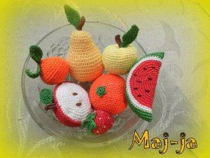 """тактильные игрушки:вязаные набор фруктов-ягод """"витаминка"""""""