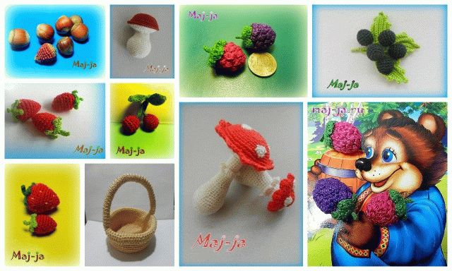вязаные ягоды и грибы