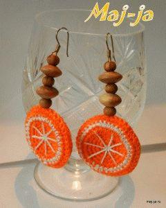 Вязаные сережки-апельсинки