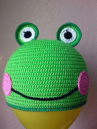 вязаная шапочка-лягушка