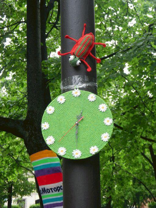вязаный жук, вязаные часы