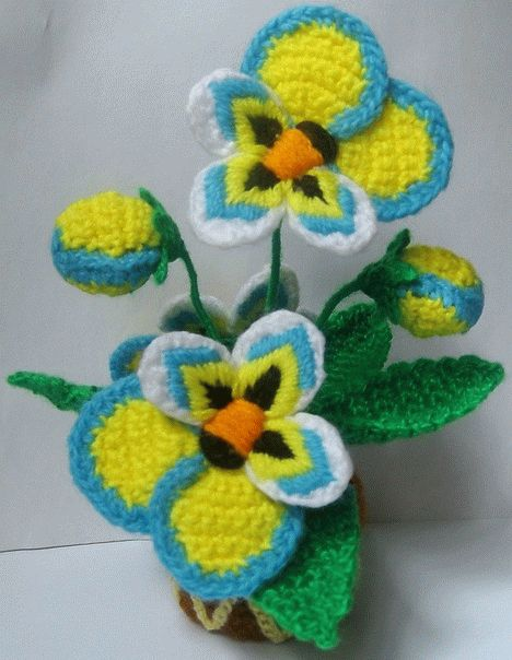 вязаные цветы: анютины глазки Светланы Масловой