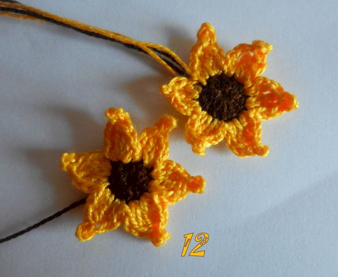 вязаные цветы - подсолнух