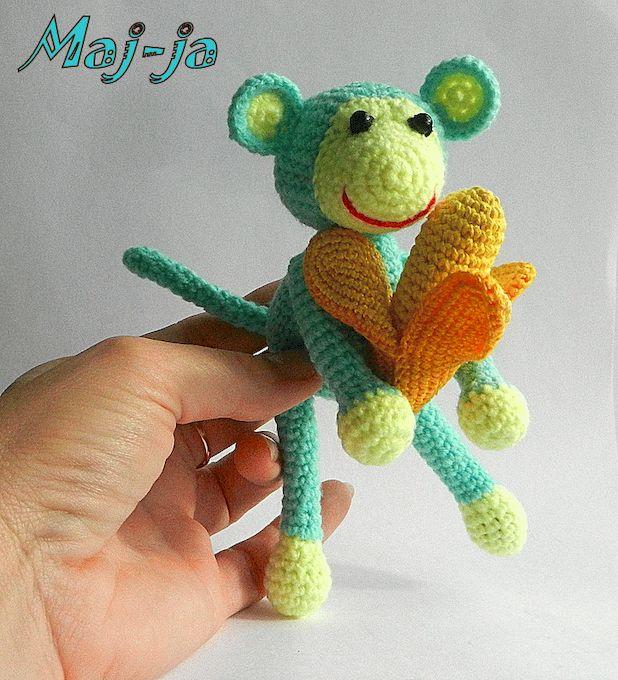 Вязаная игрушка обезьянка -купить.