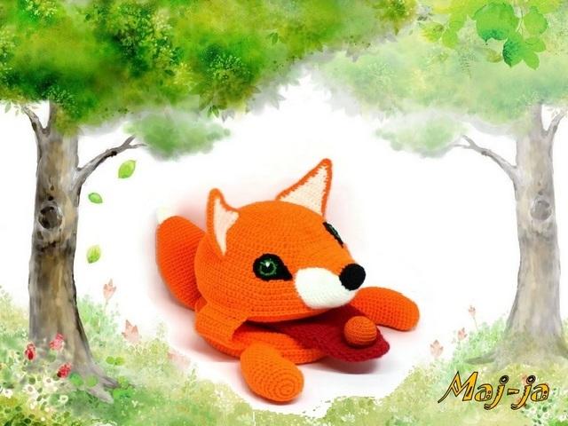 игрушка лисичка вязаная
